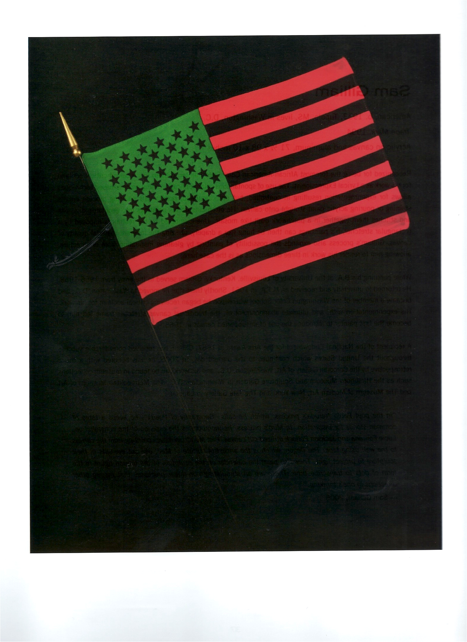 "David Hammons ""African-American Flag"" Mixed Media c1990"
