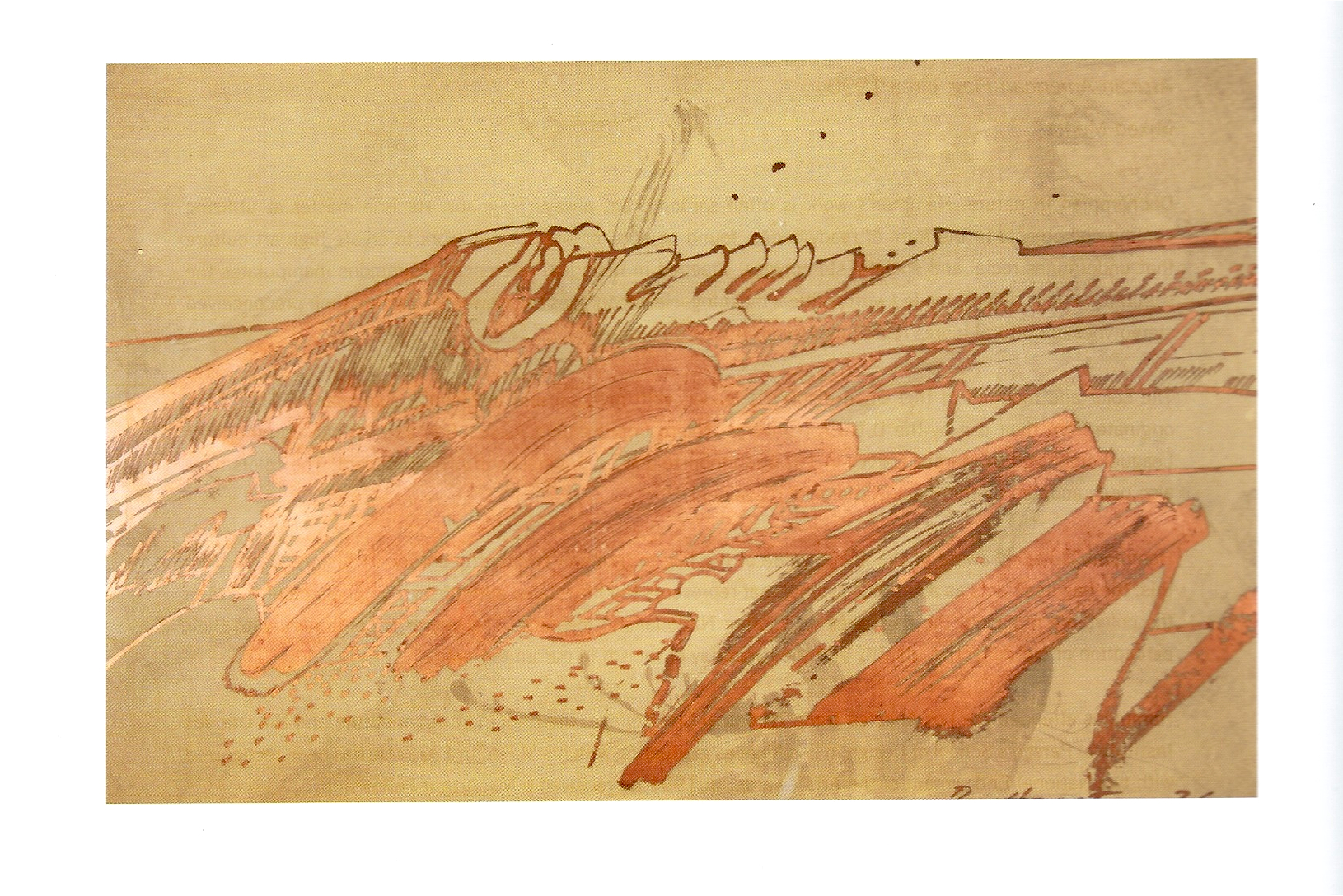 "Richard Hunt ""Untitled"" Copper resist drawing 21 x 16in 1976"