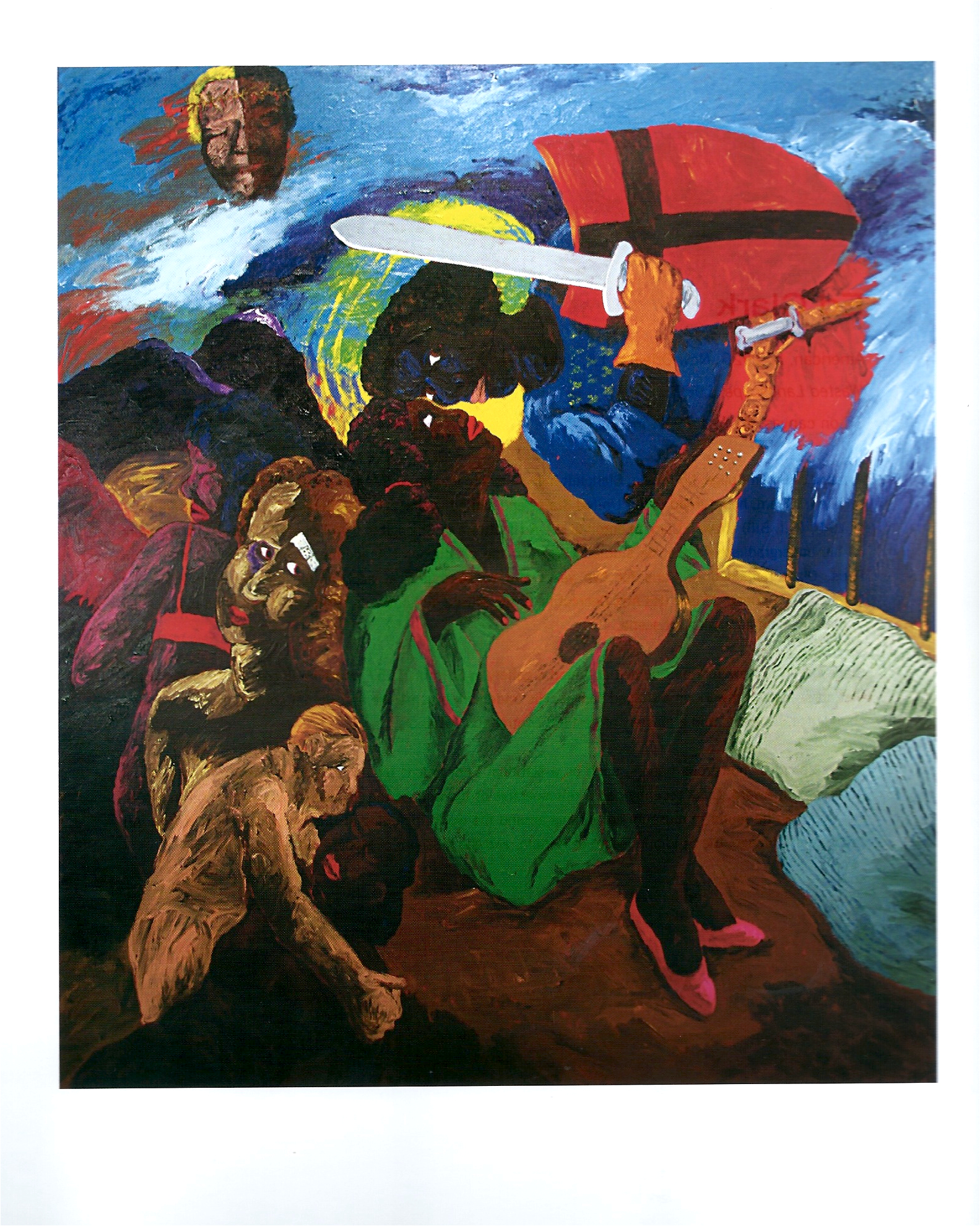 "Robert Colescott ""Knowledge of the Past is Key to the Future - A Prayer to Saint Maurice"" Acrylic on Canvas 85 x 73in 1986"