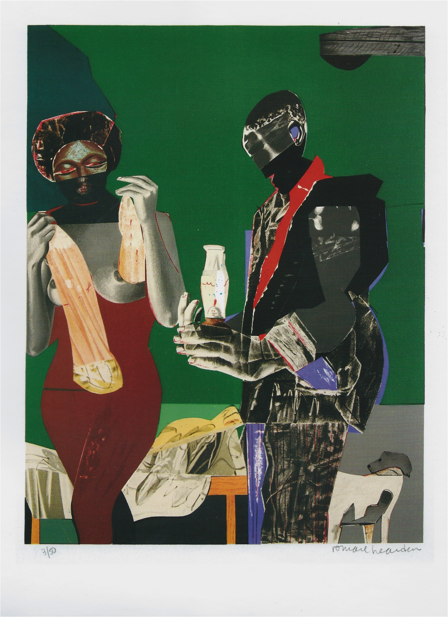 "Romare Bearden ""Before the First Whistle"" Lithograph 16 x 12in 1973"