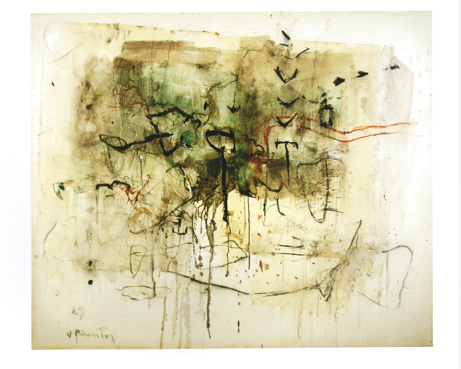 "Vincente Pimentel ""Untitled"" Mixed Media on canvas 69 x 83in 1989"